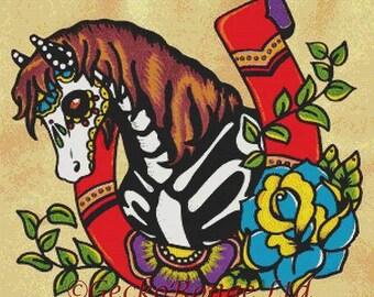 Horse Cross Stitch Art, Cross Stitch Kit,  Tattoo Cross Stitch Kit, Illustrated Ink Art, Day of the Dead Cross Stitch, Skeleton Horse