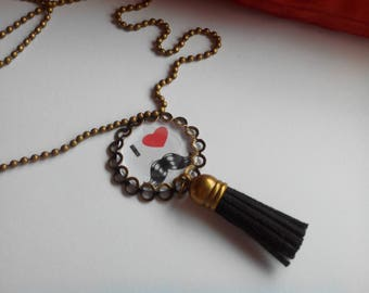 Long necklace - pendant and tassel - man with mustache