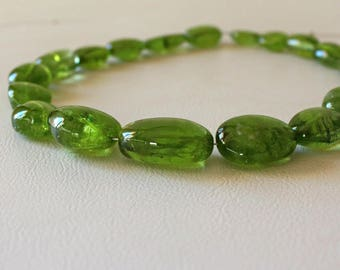 "Natural Peridot tumbled beads 13.5"" strand. Smooth Peridot nugget beads 10x13 to 16x24mm Freeform beads for jewelry"