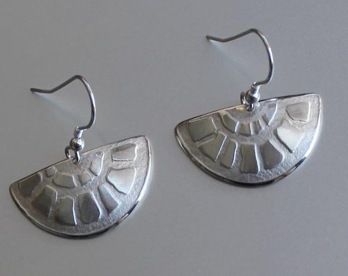 Fan Earrings, Sterling Silver Earrings, Silver Jewellery.