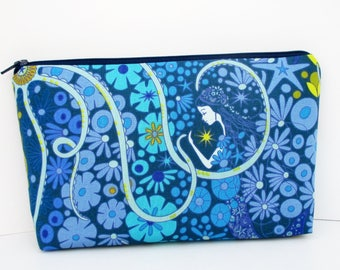 Mermaid Make Up Bag, Cosmetic Zipper Pouch, Mermaid in Blue Lagoon, Alison Glass Diving Board, OceanPatch