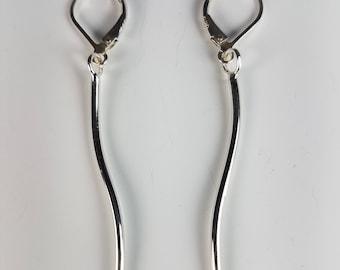 Modernist Wave Earrings, Sterling Silver, Modern handmade by Sylvia Kay Jewelry Studio