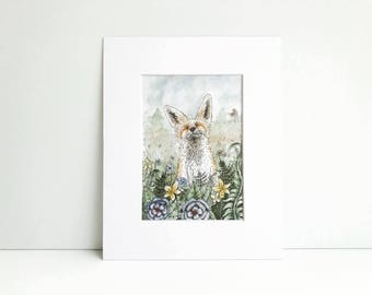 Watercolor Fox Painting Print, Watercolor Art, Watercolor Decor, Woodland, Fox