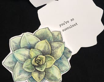 You're So Succulent card, hand cut cactus plant shaped card