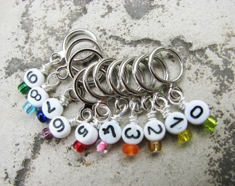 Rainbow Numbers Non-Snag Stitch Markers