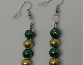 Green and Gold Wire Wrapped Earrings