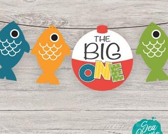 The Big One Birthday printable   The Big One Banner   First Birthday Banner   Fishing Birthday Party   Birthday Party printable banner