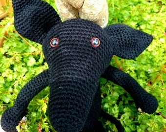 Crocheted Black Greyhound Amigarumi Made to Order