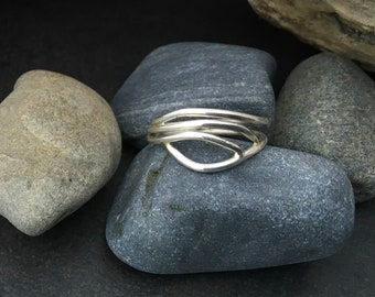 Solid sterling silver ring, delicate flowing design, water, tree branches or vines, wrap around finger, individually handmade size 8 and 3/4