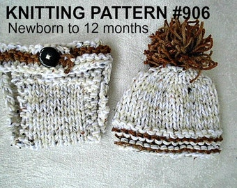 Baby Hat and Diaper Cover, KNITTING PATTERN - 3 sizes, Newborn to 12 months, Easy Beginner Level, Flat knit, #906, one hour project