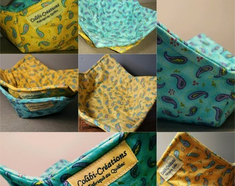 Set of 2 , in yellow and turquoise paisley, Bowl cozy - soup hot pad - bowl warmer - hand and knees protector for warm food