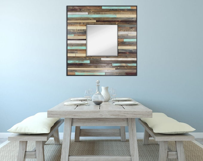 "Large Reclaimed Wood Mirror - ""Large Reclaimed Reflection""- Wood Stripes - Square - Scrap wood art"