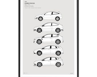 Ford Focus RS ST Generations Poster