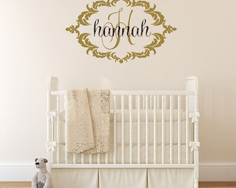 Baby Name Wall Decal with Elegant Shabby Chic Frame - Nursery Girl Vinyl Wall Decal Monogram FN0369