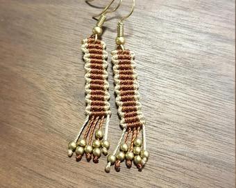 Brown block drop earrings