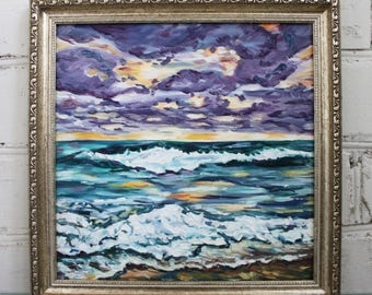 Sea Painting Original Oil Painting Framed Painting Seascape Sky Painting Canvas Art Original Framed Art Sunset Oil Painting Ocean Painting