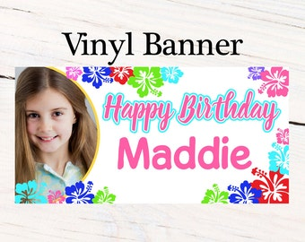 Luau Party Banner ~ Personalized Party Banners - Summer Fun Birthday Banner- Photo Banner