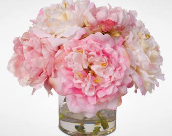 Fake water etsy quick view silk french peonies bouquet in glass vase with fake water mightylinksfo