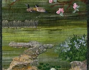 Landscape Wall Quilt, Geese Turtles, Rocks, Dogwood Tree, Lake, Water