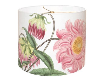 LARGE Linen Cotton Pink Dahlia Drum Lamp Shade - Botanical Cottage Lampshade - 13 14 15 Inch Lamp Shade - Custom Made to Order