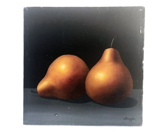 Frank Whipple Still Life Oil Painting of Pears on Board