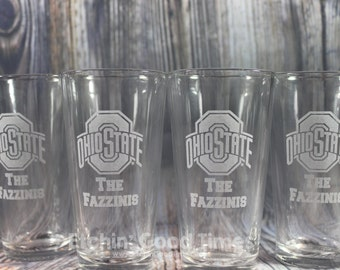 Ohio State Pint - Personalized Ohio State Pint Glass with YOUR Last Name set of 4