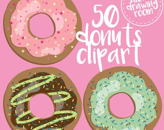 Donuts clipart pack of 50 donuts, 50 doughnuts, doughnut clipart, donut clipart, pastel donut, donut sprinkles, donut icing, clip art, png