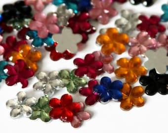 100 Flower Rhinestones - 10mm - Flower Sequins - Rhinestone Gems - Scrapbooking - Flat Back Sequins - Flatback Acrylic Flower - B16