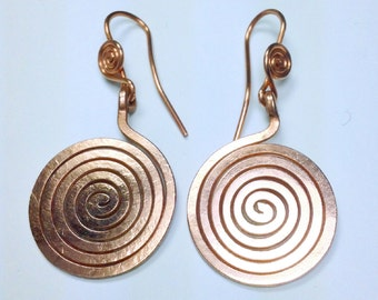 Earrings Copper Spiral