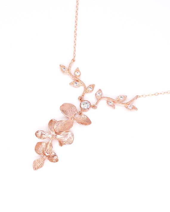 Magic - Rose Gold Orchid Flower Wedding Bridal Rose Gold FILLED Necklace, Bridesmaid brides Boho Garden weddings Crystal jewelry
