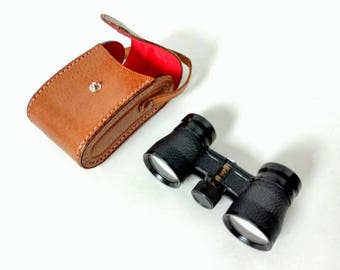Opera Glasses with Leather Case Baker Standard 25X in original case Venue Coated Glasses Theatre Binoculars sports events domed leather case