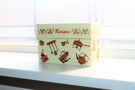 Vintage Mid Century Recipe Box Filled with Recipes