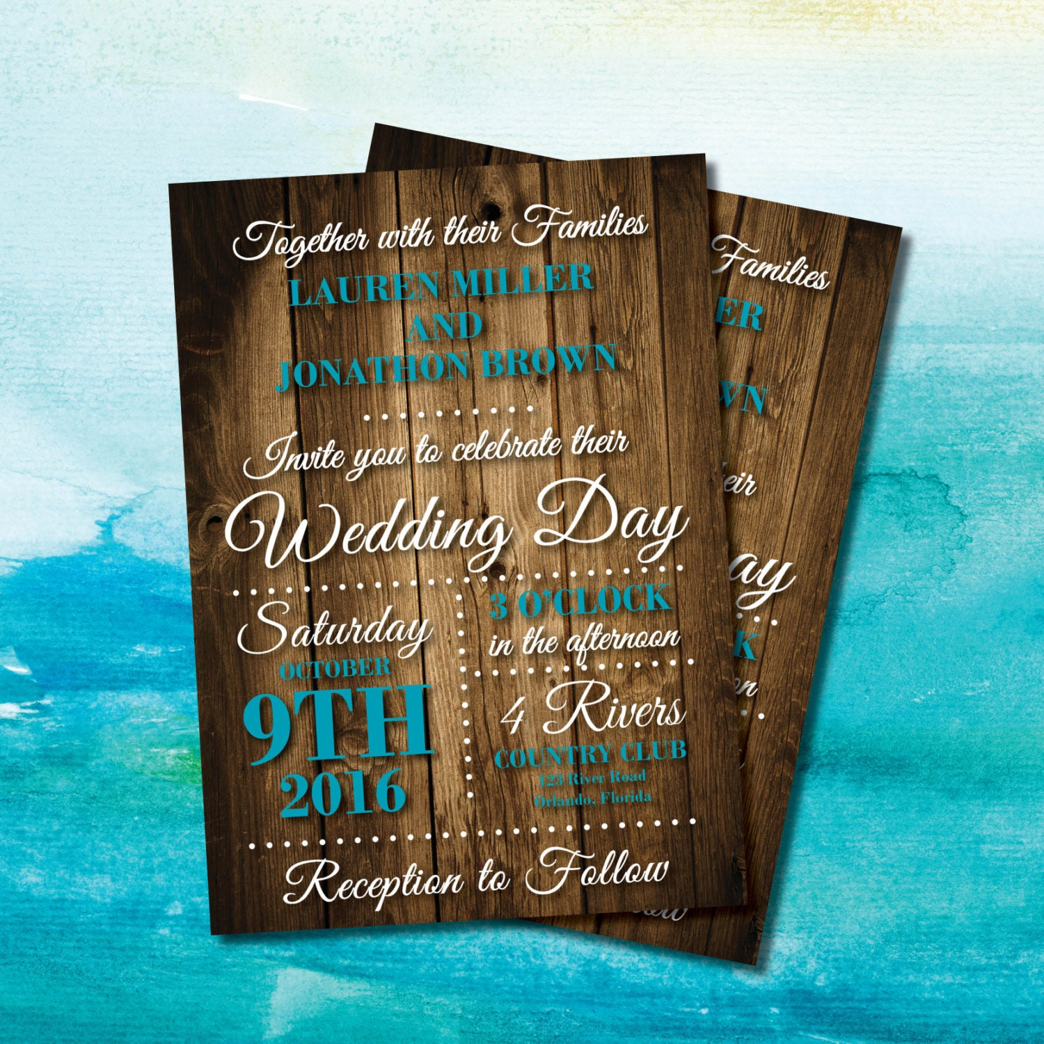 Background For Wedding Invitation: Rustic Wood Background Wedding Invite Turquoise Wedding