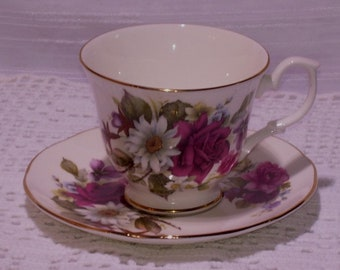 Aynsley Teacup & Saucer Set Pinkish Mauve Rose Fuschia's + White Daisy Flowers Vintage Tea Lover Gift For Her Mothers Day Gift Birthday