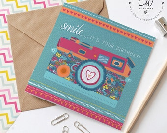 Smile, it's Your Birthday blank greetings card - bright & colourful stationery designed by Claire Wilson Designs. Printed in the UK