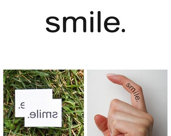 Quotes - Smile - Temporary Tattoo (Set of 2)