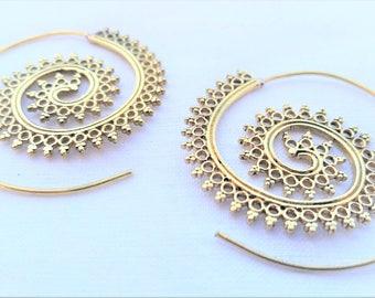 Spiral Earrings, Brass Earrings, Gold Earrings, Boho Earrings, Tribal Jewellery, Gold Earrings, Ethnic Jewellery, Brass Jewellery