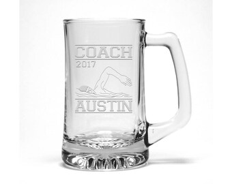 Swimming Coach Beer Mug / Free Personalization / Water Polo Coach Gift / Sports Beer Mug /  Personalized Gift / Personalized Glass