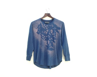One of a Kind Blue Top, Abstract Print, Printed Tee, Long Sleeve T-shirt, Women's Tops, Hand Printed Top