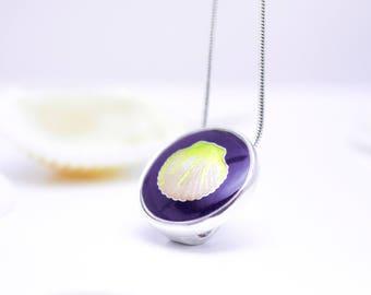 Sea Silver Necklace Seashell Silver Cloisonne Sea Enamel Pendant Cloisonne Necklace Pendant Sea Jewelry Purple Hot Enamel Ocean Pendant