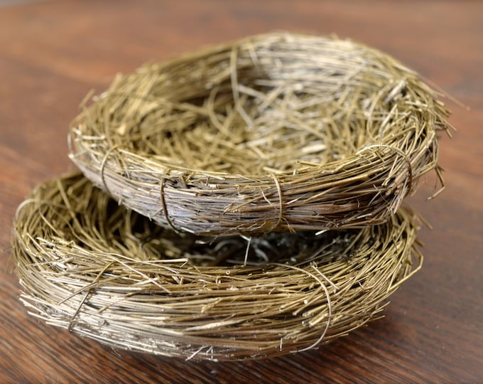 """Rustic Golden Birds Nests, Natural Decor, Small  5"""", set of two"""