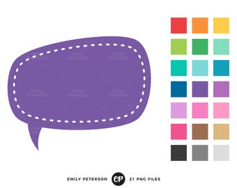 Speech Bubble Clip Art, Thought Bubble Clipart, Text Bubble Clip Art - Commercial Use, Instant Download