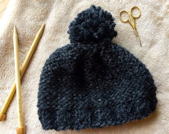 Black Silver Chunky Knit Hat; Baby, Toddler, Child, Teen, and Adult Size's Available; Perfect for a Winter Weather Acessory Gift