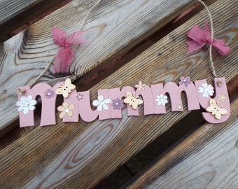 MUMMY - hand-painted wooden wall hanger. Laser-cut. Ideal gift for Mum.