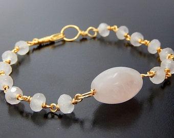 Rose Quartz Bracelet, Pink Bracelet, Gold Wire Wrapped Jewelry