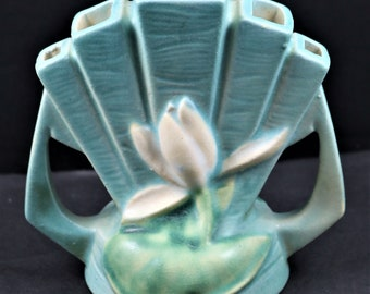 Roseville, Water Lily, Blue, Flower Frog, No. 48 (Hard to Find)