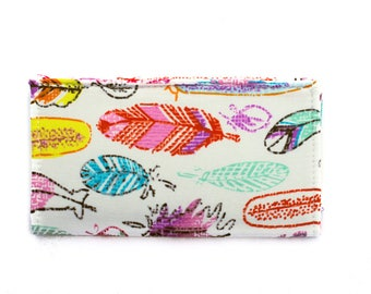 Checkbook Cover | Fabric Checkbook Cover | Checkbook Case | Bags and Purses | Wallets | Checks | Organizer | Feathers | Gifts under 10 |