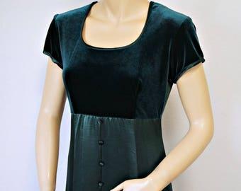 Vintage Maxi Dress Green Velvet Empire Waist 1970's Gown Short Sleeve Size 7