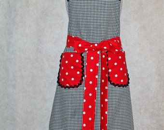Pretty Black And Red Polka Dot Apron, Gingham Apron, Custom Personalize With Name, No Shipping Fee, Ready To Ship TODAY, AGFT 811