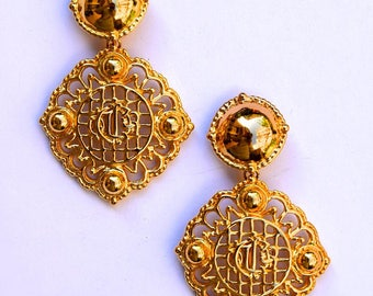 Authentic CHRISTIAN DIOR Vintage Large DIOR Logo Gold Plate Dangle Earrings